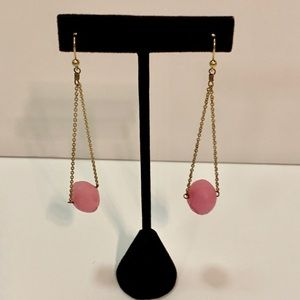 VINTAGE Gold Chain Drop Earrings w/ Pink Stones